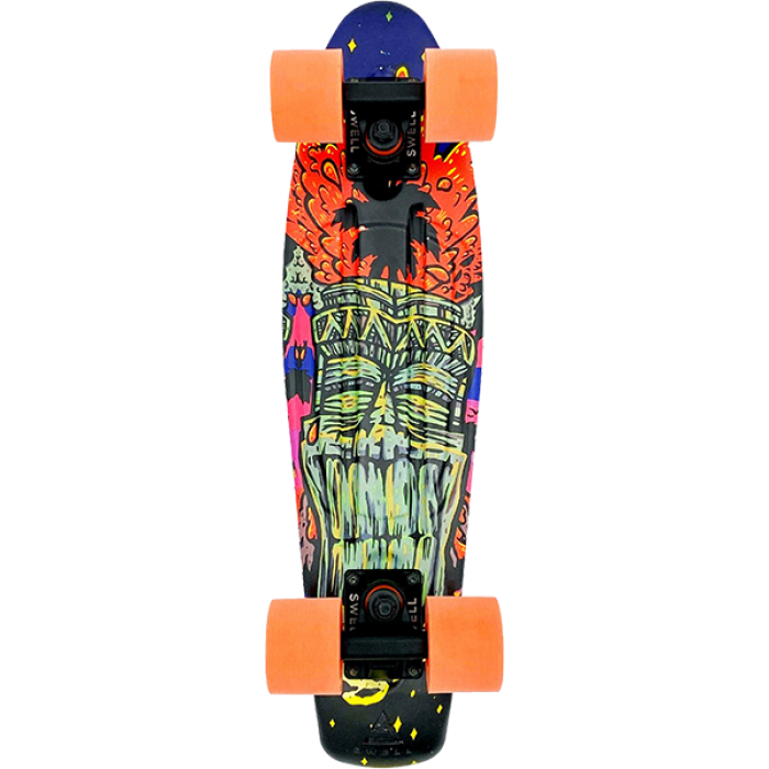 """SWELL 22"""" COMPLETE TIKI VOLCANO BLK/BLK/ORG"""