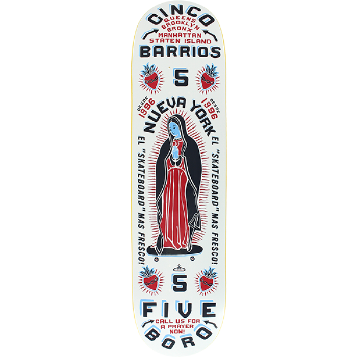 5BORO CINCO BARRIOS DECK-8.0 WHITE