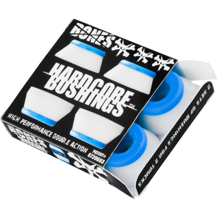 BONES HARDCORE 4PC SOFT WHITE/BLUE BUSHINGS
