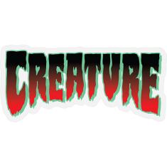 "CREATURE LOGO HORROR MYLAR DECAL 1.9x4.06"" RED"