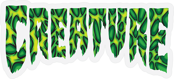 """CREATURE STRAINS DECAL 2""""x4.25"""" BLK/GRN/YEL"""