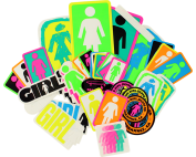 GIRL 44/PACK ASSORTED OG NEON DECALS