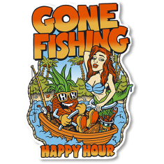 HAPPY HOUR GONE FISHING LG DECAL single