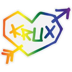 """KRUX RAINBOW HEART DECAL 3.25""""x4"""" single"""
