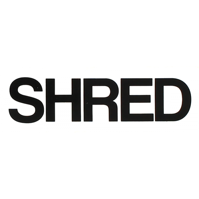 SHRED STICKERS PRINTED SHRED BOLD 4.5x1.5 WHT/BLK