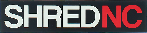 SHRED STICKERS PRINTED SHRED NC 6.5x1.5 BLK/WHT/RD