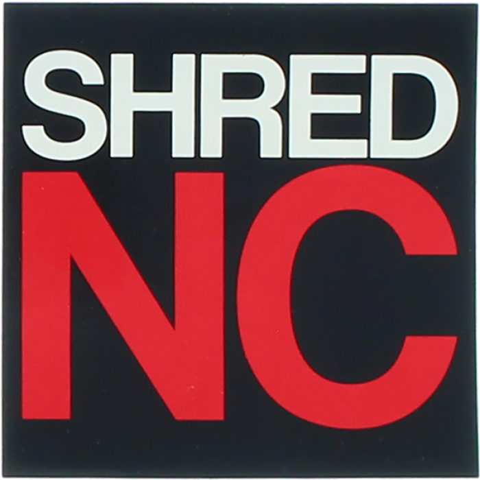 """SHRED STICKERS PRINTED SHRED NC STACK 3""""BLK/WHT/RD"""