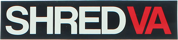 SHRED STICKERS PRINTED SHRED VA 6.5x1.5 BLK/WT/RED
