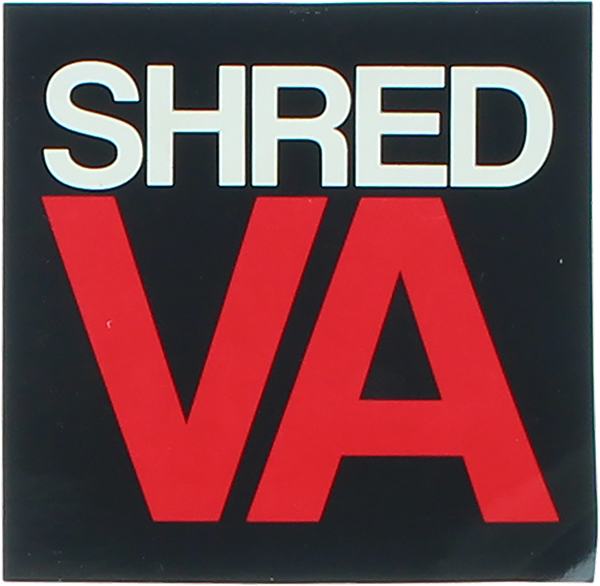 """SHRED STICKERS PRINTED SHRED VA STACK 3"""" BLK/WT/RD"""