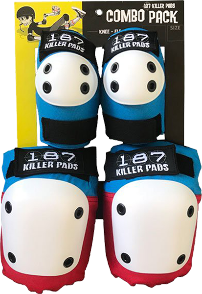 187 COMBO PACK KNEE/ELBOW PAD SET S/M-RED/WHT/BLU