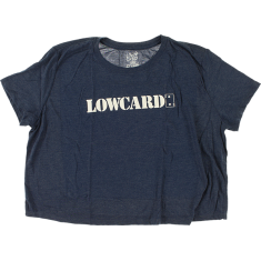 LOWCARD LOGO GIRLS CROP TOP SS L-NAVY/SOLID WHT