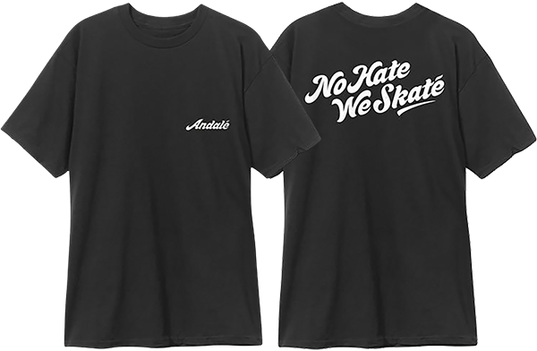 ANDALE NO HATE WE SKATE LOGO SS S-BLACK/WHT