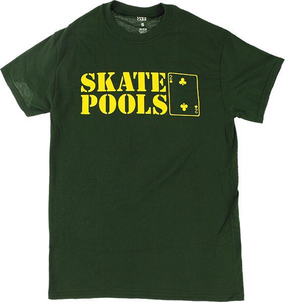 LOWCARD SKATE POOLS SS S-FOREST GREEN/YEL