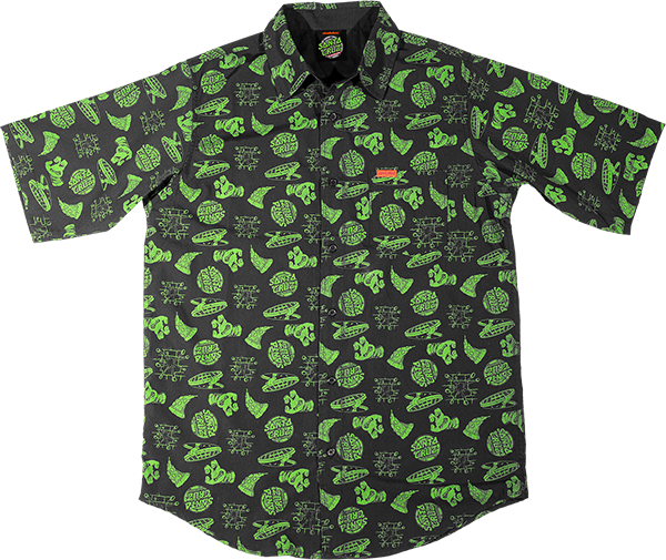 SC TMNT COWABUNGA BUTTON-UP SS S-BLACK/GRN