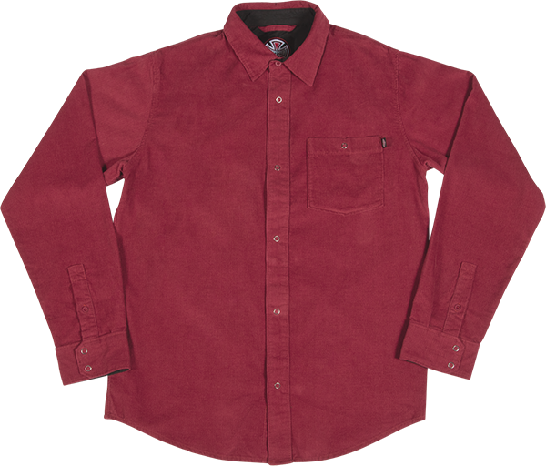 INDE ROY CORDUROY L/S BUTTON UP S-BURGUNDY