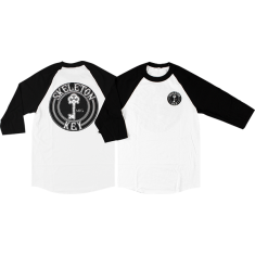 SKELETON KEY BLACK DOT RAGLAN 3/4 SLV S-WHT/BLK