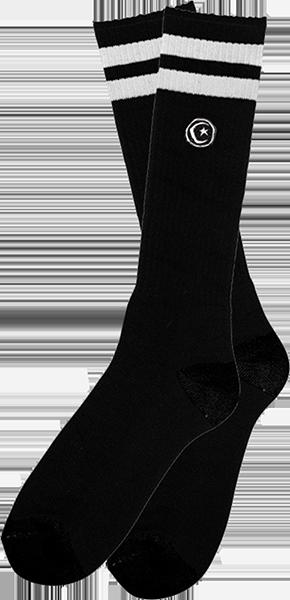 FOUND STRIPE TALL SOCKS BLACK/WHT 1pr