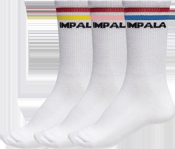 IMPALA 3PK SOCKS STRIPE WHT/ASST SOLIDS