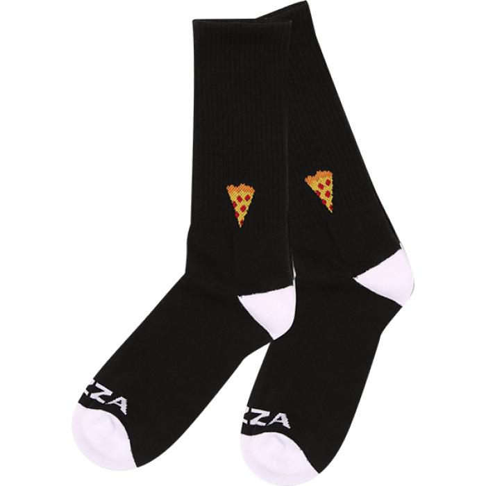 PIZZA EMOJI CREW SOCKS BLACK/WHT 1pr