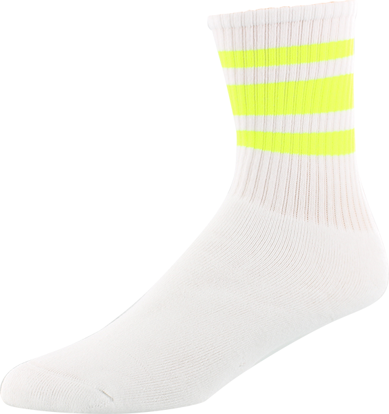 SOCCO SOCKS S/M CREW STRIPE WHT/SAFETY YELLOW 1pr
