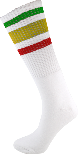 SOCCO SOCKS S/M KNEE HIGH STRIPE WHT/RASTA 1pr