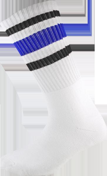 SOCCO SOCKS L/XL CREW STRIPE WHT/BLK/BLUE 1pr