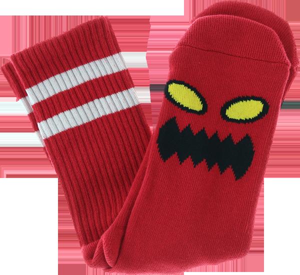 TM MONSTER FACE CREW SOCKS RED 1 pair