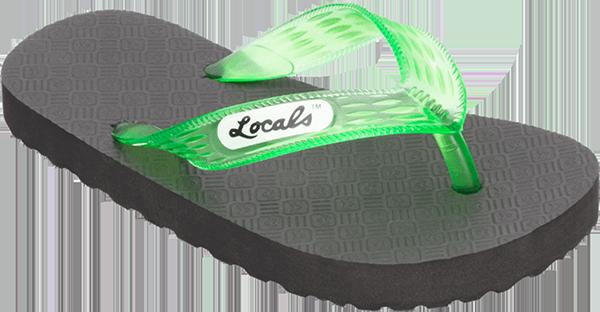 "LOCALS ORIGINAL SLIPPA 7.0"" BLK/TRANS.GREEN"