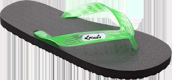 "LOCALS ORIGINAL SLIPPA 13.0"" BLK/TRANS.GREEN"